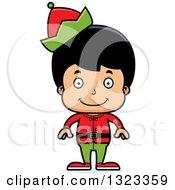 Clipart Of A Cartoon Happy Hispanic Christmas Elf Boy Royalty Free Vector Illustration
