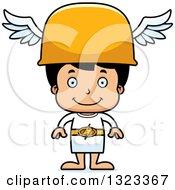 Clipart Of A Cartoon Happy Hispanic Hermes Boy Royalty Free Vector Illustration