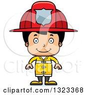 Clipart Of A Cartoon Happy Hispanic Boy Firefighter Royalty Free Vector Illustration