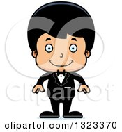 Clipart Of A Cartoon Happy Hispanic Boy Groom Royalty Free Vector Illustration