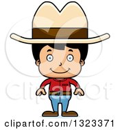 Clipart Of A Cartoon Happy Hispanic Cowboy Royalty Free Vector Illustration