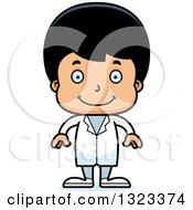 Clipart Of A Cartoon Happy Hispanic Boy Doctor Royalty Free Vector Illustration