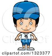 Clipart Of A Cartoon Happy Hispanic Boy Sports Coach Royalty Free Vector Illustration