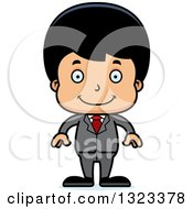 Clipart Of A Cartoon Happy Hispanic Business Boy Royalty Free Vector Illustration