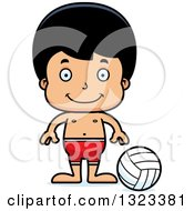 Clipart Of A Cartoon Happy Hispanic Boy Beach Volleyball Player Royalty Free Vector Illustration