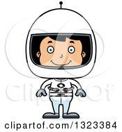 Clipart Of A Cartoon Happy Hispanic Boy Astronaut Royalty Free Vector Illustration
