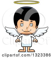 Clipart Of A Cartoon Happy Hispanic Boy Angel Royalty Free Vector Illustration