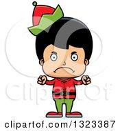 Clipart Of A Cartoon Mad Hispanic Christmas Elf Boy Royalty Free Vector Illustration