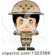 Clipart Of A Cartoon Mad Hispanic Boy Zookeeper Royalty Free Vector Illustration