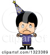 Clipart Of A Cartoon Mad Hispanic Wizard Boy Royalty Free Vector Illustration
