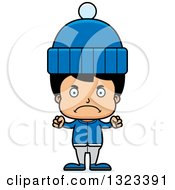 Clipart Of A Cartoon Mad Hispanic Boy In Winter Clothes Royalty Free Vector Illustration