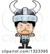 Clipart Of A Cartoon Mad Hispanic Viking Boy Royalty Free Vector Illustration