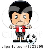 Clipart Of A Cartoon Mad Hispanic Boy Soccer Player Royalty Free Vector Illustration