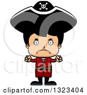 Clipart Of A Cartoon Mad Hispanic Boy Pirate Royalty Free Vector Illustration