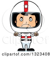 Clipart Of A Cartoon Mad Hispanic Boy Race Car Driver Royalty Free Vector Illustration