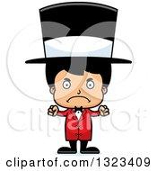 Clipart Of A Cartoon Mad Hispanic Boy Circus Ringmaster Royalty Free Vector Illustration by Cory Thoman