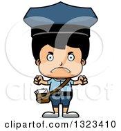 Clipart Of A Cartoon Mad Hispanic Boy Mailman Royalty Free Vector Illustration by Cory Thoman