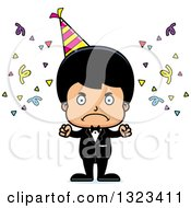 Clipart Of A Cartoon Mad Hispanic Party Boy Royalty Free Vector Illustration by Cory Thoman