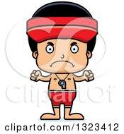Clipart Of A Cartoon Mad Hispanic Boy Lifeguard Royalty Free Vector Illustration by Cory Thoman