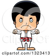 Clipart Of A Cartoon Mad Hispanic Karate Boy Royalty Free Vector Illustration by Cory Thoman