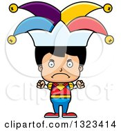 Clipart Of A Cartoon Mad Hispanic Boy Jester Royalty Free Vector Illustration by Cory Thoman