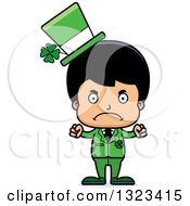 Clipart Of A Cartoon Mad Hispanic Irish St Patricks Day Boy Royalty Free Vector Illustration by Cory Thoman