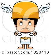 Clipart Of A Cartoon Mad Hispanic Hermes Boy Royalty Free Vector Illustration by Cory Thoman