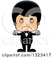 Clipart Of A Cartoon Mad Hispanic Boy Groom Royalty Free Vector Illustration by Cory Thoman