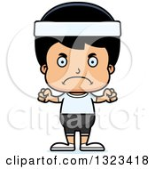 Clipart Of A Cartoon Mad Hispanic Fitness Boy Royalty Free Vector Illustration by Cory Thoman