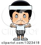 Clipart Of A Cartoon Mad Hispanic Fitness Boy Royalty Free Vector Illustration by Cory Thoman