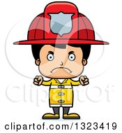 Clipart Of A Cartoon Mad Hispanic Boy Firefighter Royalty Free Vector Illustration by Cory Thoman