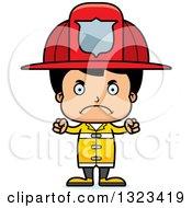 Clipart Of A Cartoon Mad Hispanic Boy Firefighter Royalty Free Vector Illustration