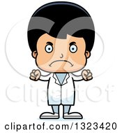Clipart Of A Cartoon Mad Hispanic Boy Doctor Royalty Free Vector Illustration by Cory Thoman