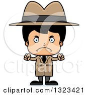 Clipart Of A Cartoon Mad Hispanic Boy Detective Royalty Free Vector Illustration by Cory Thoman