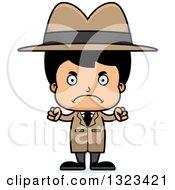 Clipart Of A Cartoon Mad Hispanic Boy Detective Royalty Free Vector Illustration by Cory Thoman