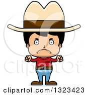 Clipart Of A Cartoon Mad Hispanic Cowboy Royalty Free Vector Illustration