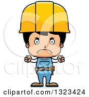 Cartoon Mad Hispanic Boy Construction Worker