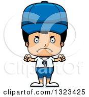 Clipart Of A Cartoon Mad Hispanic Boy Sports Coach Royalty Free Vector Illustration