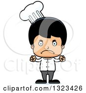 Clipart Of A Cartoon Mad Hispanic Boy Chef Royalty Free Vector Illustration by Cory Thoman