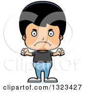 Clipart Of A Cartoon Mad Casual Hispanic Boy Royalty Free Vector Illustration by Cory Thoman