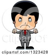 Clipart Of A Cartoon Mad Hispanic Business Boy Royalty Free Vector Illustration