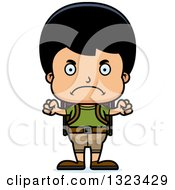 Clipart Of A Cartoon Mad Hispanic Boy Hiker Royalty Free Vector Illustration by Cory Thoman