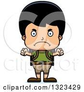 Clipart Of A Cartoon Mad Hispanic Boy Hiker Royalty Free Vector Illustration by Cory Thoman