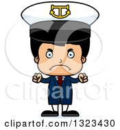 Clipart Of A Cartoon Mad Hispanic Boy Captain Royalty Free Vector Illustration by Cory Thoman