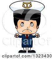 Clipart Of A Cartoon Mad Hispanic Boy Captain Royalty Free Vector Illustration by Cory Thoman