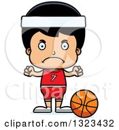 Clipart Of A Cartoon Mad Hispanic Boy Basketball Player Royalty Free Vector Illustration