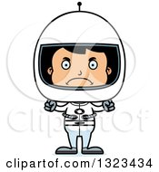 Clipart Of A Cartoon Mad Hispanic Boy Astronaut Royalty Free Vector Illustration by Cory Thoman