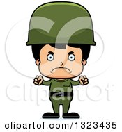 Clipart Of A Cartoon Mad Hispanic Boy Soldier Royalty Free Vector Illustration by Cory Thoman