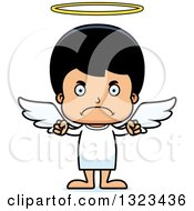 Clipart Of A Cartoon Mad Hispanic Boy Angel Royalty Free Vector Illustration