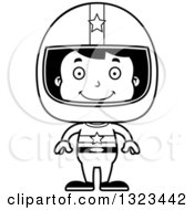 Lineart Clipart Of A Cartoon Black And White Happy Hispanic Boy Race Car Driver Royalty Free Outline Vector Illustration